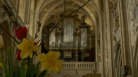 Old Gothic Church Organ. Switching focus to a an old church large organ stock video