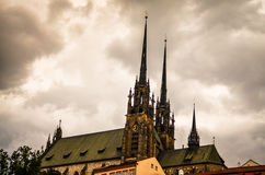 Old gothic church during stormy weather royalty free stock photos