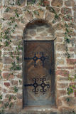 Old gothic door. In romantic style with peeling green paint Royalty Free Stock Photos