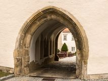 Old gothic entrance of monastery in Klosterneuburg. Austria stock photography