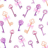 Old gothic keys with bows seamless vector pattern Royalty Free Stock Photo