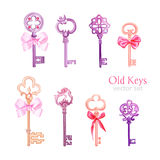 Old gothic keys with ribbon bows vector design set Stock Photos