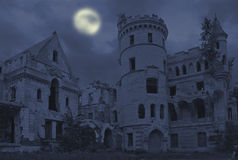 Old gothic manor. Abandoned manor in gothic style, Muromtzevo, central Russia royalty free stock image