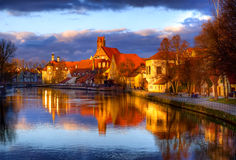 Old gothic town Landshut, the former capital of Bavaria, on Isar Stock Image