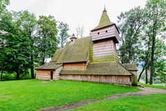 Old Gothic wooden church in Grywald village, Pieniny Mountains, Royalty Free Stock Photos