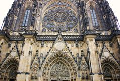 Old gothical cathedral of Saint Vitus in Prague castle historical medieval architecture in European old town stock images