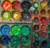 Old gouache paint-box Stock Image
