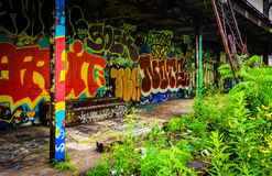 An old, graffiti-covered building at the Reading Viaduct in Phil Stock Photography