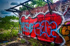 An old, graffiti-covered building at the Reading Viaduct in Phil Royalty Free Stock Photography