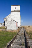 Old Grain Elevator. Old abandoned grain elevator on the Canadian prairies near the small town of Milden, Saskatchewan Royalty Free Stock Photography