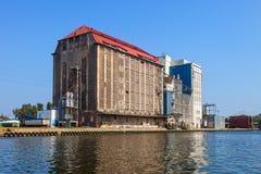 Old grain elevator. In port of Gdansk, Poland Stock Images
