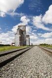 Grain Elevator. Old grain elevator located in rural Saskatchewan with railway line perspective Stock Photography