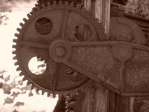 Old grain mill gears royalty free stock photo