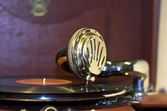 Old gramophone. With vinyl disc Royalty Free Stock Photography