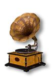 Old gramophone. Isolated on the white with clipping path Royalty Free Stock Photo