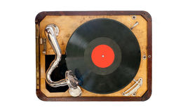 Old gramophone. With black vinyl record. view from the top. Isolated object Royalty Free Stock Image