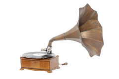 Old gramophone. Isolated on white Royalty Free Stock Image