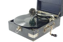 Old gramophone. On white background royalty free stock photo