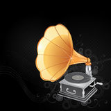 Old gramophone. Illustration of an old, vintage gramophone with large tube on black background Stock Images