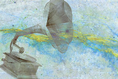Old gramophone with abstract background. Digital art, printable on canvas Stock Image