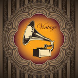Old gramophone banner. Royalty Free Stock Image