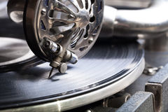 The old gramophone. Close up view. Selective focus. Shallow dept. H of field royalty free stock photos