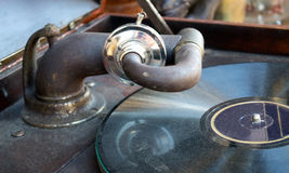 Old gramophone closeup Royalty Free Stock Image