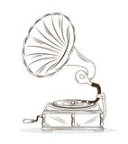 Old gramophone  drawing isolated icon design. Old gramophone drawing  isolated icon design,  illustration  graphic Royalty Free Stock Photos