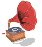 Old gramophone. First music on vinyl. Old gramophone. Illustration of the good old music of the gramophone. First music on vinyl stock illustration