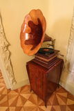 Old gramophone in Gaudi house Royalty Free Stock Photography