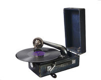 Old gramophone with a gramophone record Royalty Free Stock Images