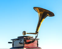 Old gramophone isolated on blue sky Stock Images