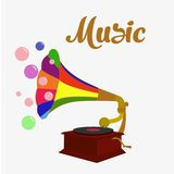 Old gramophone. Isolated music. Flat stock illustration vector illustration