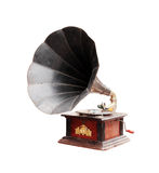 Old gramophone. Isolated on a white background Stock Photos