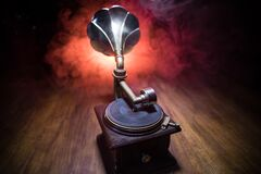 Free Old Gramophone On A Dark Background. Music Concept Royalty Free Stock Photo - 215775345