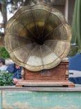 Antique gramophone, closeup royalty free stock photo