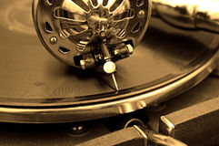 Old gramophone. And old records Royalty Free Stock Photos