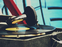 The old gramophone on the table Stock Photography