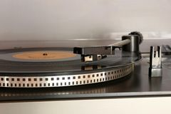 Old gramophone turntable with disc Royalty Free Stock Photo