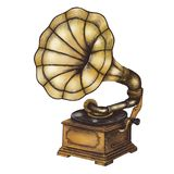 Old Gramophone vintage style illustration Royalty Free Stock Photo
