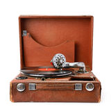 Old gramophone and vinyl record isolated on white Royalty Free Stock Image