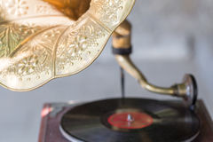 Old gramophone with vinyl record. selective focus stock photos