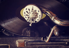 Old gramophone with vinyl records. Old phonograph with vinyl records, retro style Stock Photos