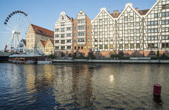 Old granaries and ferris wheel gdansk poland europe Royalty Free Stock Photos