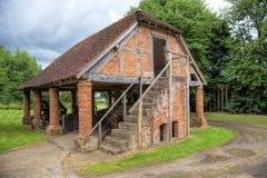 Old granary, England. Timber-framed brick granary, Worcestershire, England Stock Photo