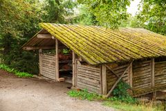 Old granary. Traditional old granary at Skansen park, the first open-air museum and zoo, located on the island Djurgarden in Stockholm, Sweden Royalty Free Stock Image
