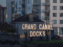 Grand Canal Docks sign at entrance of Grand Canal Dock in Dublin, Ireland royalty free stock image