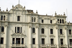 Old grand hotel on plaza san martin lima peru Stock Photos