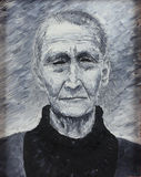 Old grandmother, oil painting Stock Photos