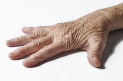 Old grandmother& x27;s hand isolated on a white background. Hand isolated on white background.copy space. Old grandmother& x27;s hand isolated on a white royalty free stock photos